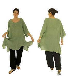 HO100GN1 Tunika Plus Size Bluse Oversize Leinen Gr. 1 - 40-46 grün