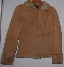 Rue 21 Women's Jacket Coat 100% Suede Leather Tan Faux Fur Collar Cuffs Small