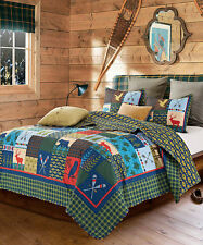LAKE and LODGE ** King ** QUILT SET : CABIN COUNTRY MOUNTAIN BEAR DEER BUCK FISH