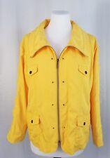 TanJay Petites 12P Yellow Zip Up Windbreaker Jacket Pockets Ruched Long Sleeves