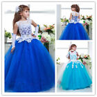 Flower Girl Dresses Princess Pageant Wedding Birthday Prom Party Ball gown blue