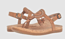 UGG AYDEN II T-Strap Leather Flat Sandals Almond Brown Size 10 NEW