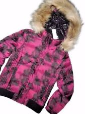 AMERICAN Eagle aeo Down Winter fur hooded cranberry JACKET Small S