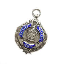 Antique silver birmingham 1930 émail lilas vainqueurs de coupe médaille Albert fob 14,4 g