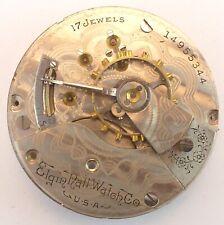 Antique Elgin Grade 336 Pocket Watch Movement - Parts Repair- Broken Balance