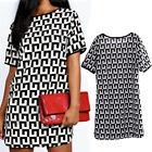 Women Boho Striped Long Tops Blouse Black&White Short Sleeve Mini T-shirt Dress*