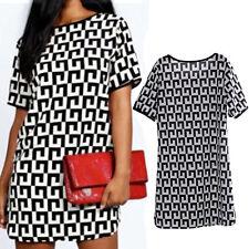 Womens Boho Striped Long Tops Blouse Black&White Short Sleeve T-shirt Dress POP