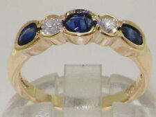 Engagement Eternity Sapphire Yellow Gold Fine Rings