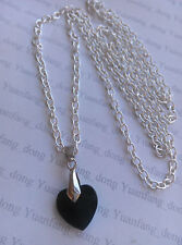"A Cute Small Black Glass Love Heart (11x14mm) Charm Pendant, 30"" Chain Necklace"