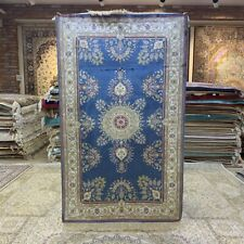 Yilong 3'x5' Blue Hand Knotted Silk Rug Antistatic Floral Home Carpet 217B