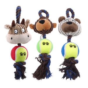 Cotton Rope Tennis Ball Plush Toys Pet Playing Cow Interactive Chew Sound Toy BM
