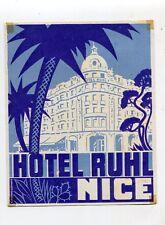 Vintage Hotel Luggage Label HOTEL RUHL Nice France Riviera