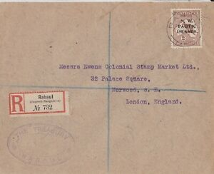 PNG619) New Guinea NWPI 1917 registered cover to the UK bearing 3rd wmk