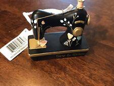 Hallmark Ornament-Sewing Machine-Sew & Stitch-Black with flowers-Pink Thread-New