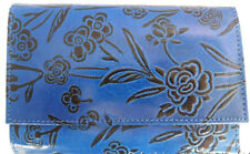 LEATHER WALLET STYLE PURSE. MANY POCKETS BLUE & BLACK  FAIR TRADE, HANDMADE
