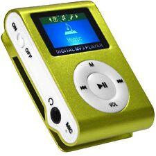 Mini Reproductor MP3 Clip LCD VERDE Aluminio RADIO FM hasta 8GB MIcroSD a420