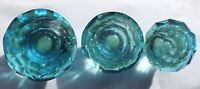 Duck Egg  Blue Cut Facetted Glass Drawer & Cupboard Pull Door Knob 3 Sizes