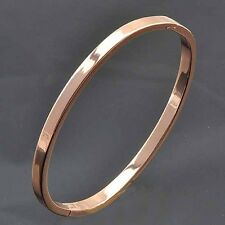 Oval Shape 9K Rose Gold Filled Womens Bangle Bracelet.F2446