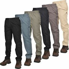Mens Elasticated Waist Work Rugby Casual Trousers Drawstring Smart Regular Pants