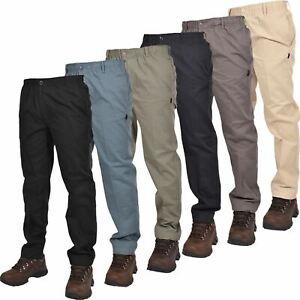 Mens Elasticated Waist Work Rugby Casual Trousers Drawstring Smart Regular Pants