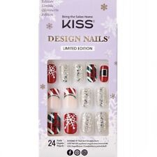 NEW Kiss Nails Limited Edition Glue Manicure Medium French Santa Red Christmas