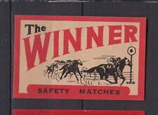 Ancienne étiquette allumette Allemagne Winner Cheval course