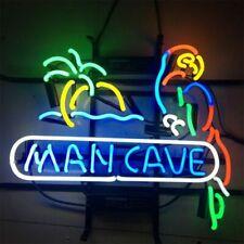 "New Man Cave Bar Parrot Palm Tree Cub Party Light Lamp Decor Neon Sign 17""x14"""