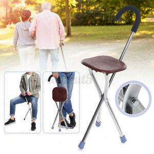 2 in1 Walking Cane Chair Folding Portable Travel Camp Walking Tripod Stick New