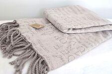 Cotton Throw Beige Grey Alphabet Blanket Handmade 160cm x 130cm Chenille