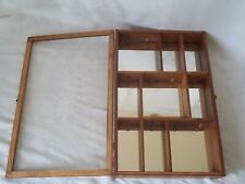 "Wood & Glass Display Mirror Cabinet Case Shelves 21"" x 13.5"" Waterford Ornament"