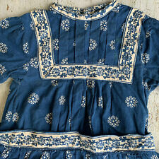 Vintage Girls Indigo Dress Blue & White Cotton Toddler Sized Antique Floral