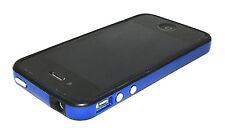 FUNDA BUMPER PARA IPHONE 4 4S AZUL BORDES NEGROS + PROTECTOR DELANTERO Y TRAS