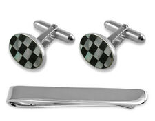 Sterling Silver Mother Of Pearl & Onyx Oval Cufflinks Tie Clip Box Set