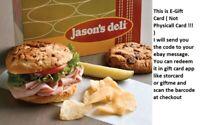 $100 Jason's Deli Gift Card - 50% OFF (read description pls)