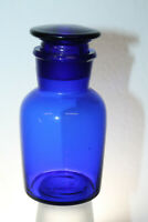 "4 3/8"" COBALT BLUE GLASS APOTHECARY BOTTLE JAR w/ LID Ground Lid & Neck"
