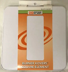 Kitchen Range Square Burner Stove Oven Slip Over Rectangle Cover White (4-Pack)