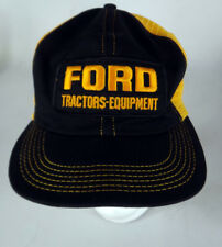 Ford Tractors equipment vintage trucker hat mesh black patch vtg 70s farming
