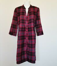 Maurices Womens Dress Sz S Red Black Plaid Flannel Button Up Tie Back 3/4 Sleeve