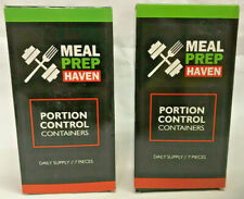 LOT OF 2 - 7 PC MEAL PREP HAVEN MULTI-COLOR CODED PORTION CONTROL CONTAINERS