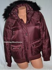 Abercrombie & Fitch by Hollister Womens Puffer Jacket Coat Burgundy Red Fur S