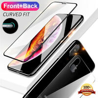 For iPhone X XS Max XR Full HD Front & Back Rear Tempered Glass Screen Protector
