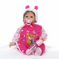 Nicery Reborn Baby Doll Soft Silicone Girl Toy 22in. 55cm Pink White Animal