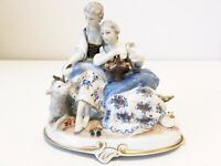 Vintage Unterweissbach Figurine - 8292 Two ladies with sheep blue floral Germany