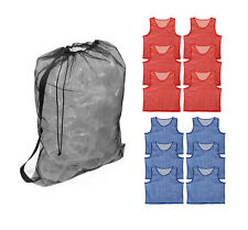 Get Out!™ Adult Nylon Mesh Soccer Scrimmage Jersey Pinnies (12) & Drawstring Bag