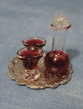 1:12th Scale Wine Decanter & Glasses On Tray, Doll House Miniatures