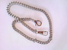 Pocket watch chain, silver tone stainless steel curb chain 5mm wide