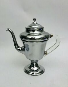 Vintage Art Deco Chrome Coffee Pot and Creamer with Clear Lucite Handles