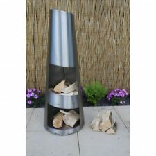 Madeometal Stainless Steel Garden Patio Angled Cone Chimenea Log Burner Heater