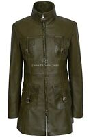 MISTRESS' Ladies Leather Olive Green Napa Mid Length Coat Casual Fashion 1310