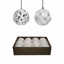 12 LED Snow Bauble White Light Up Star Snowflake Decor Hanging Glitter Tree Ball